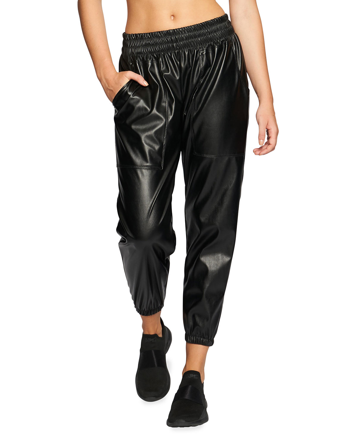 Heroine Sport Leathers FOUR-WAY PATENT FAUX-LEATHER JOGGERS