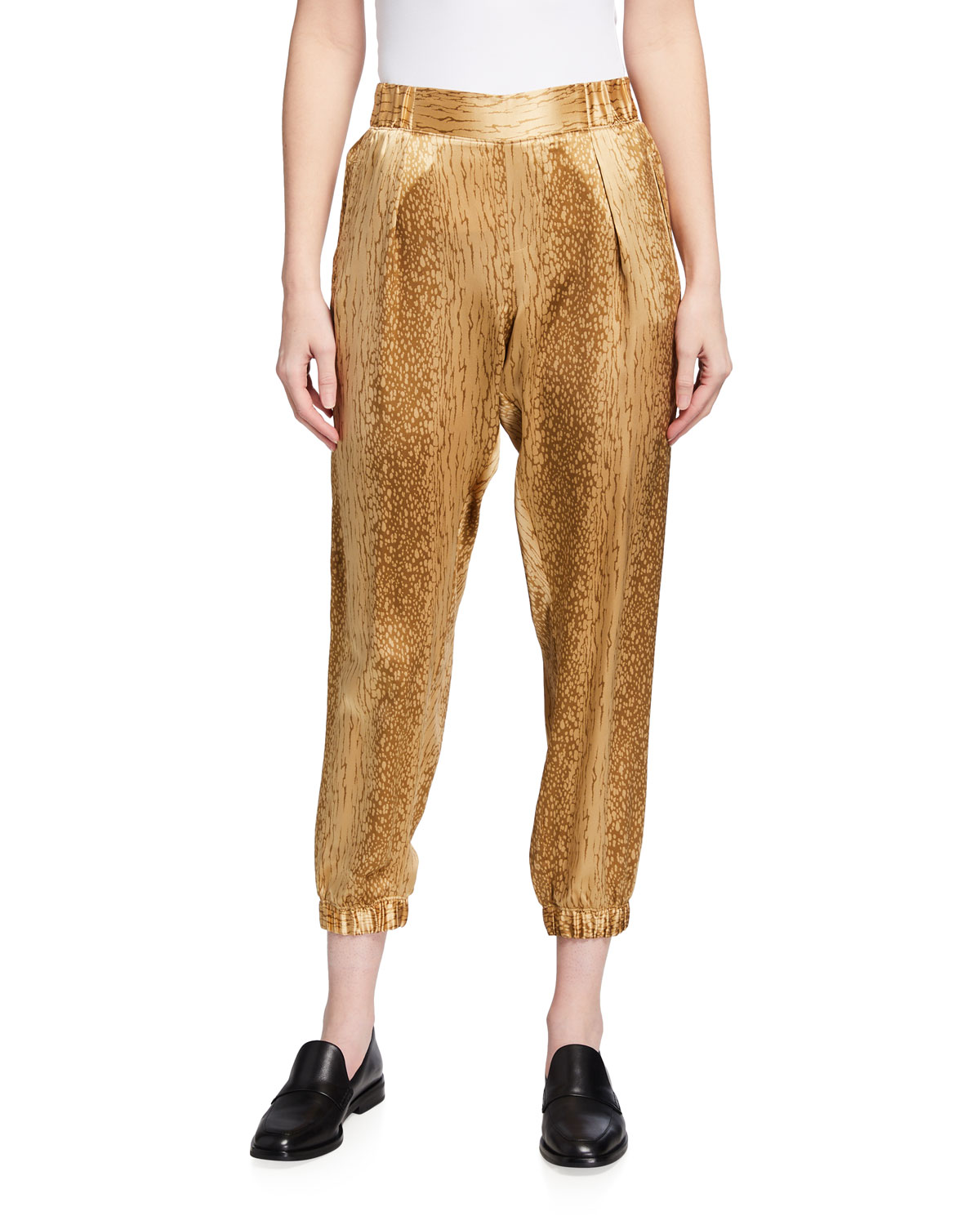 Atm Anthony Thomas Melillo Cropped pants CRACKED PAINT CHARMEUSE PULL-ON PANTS