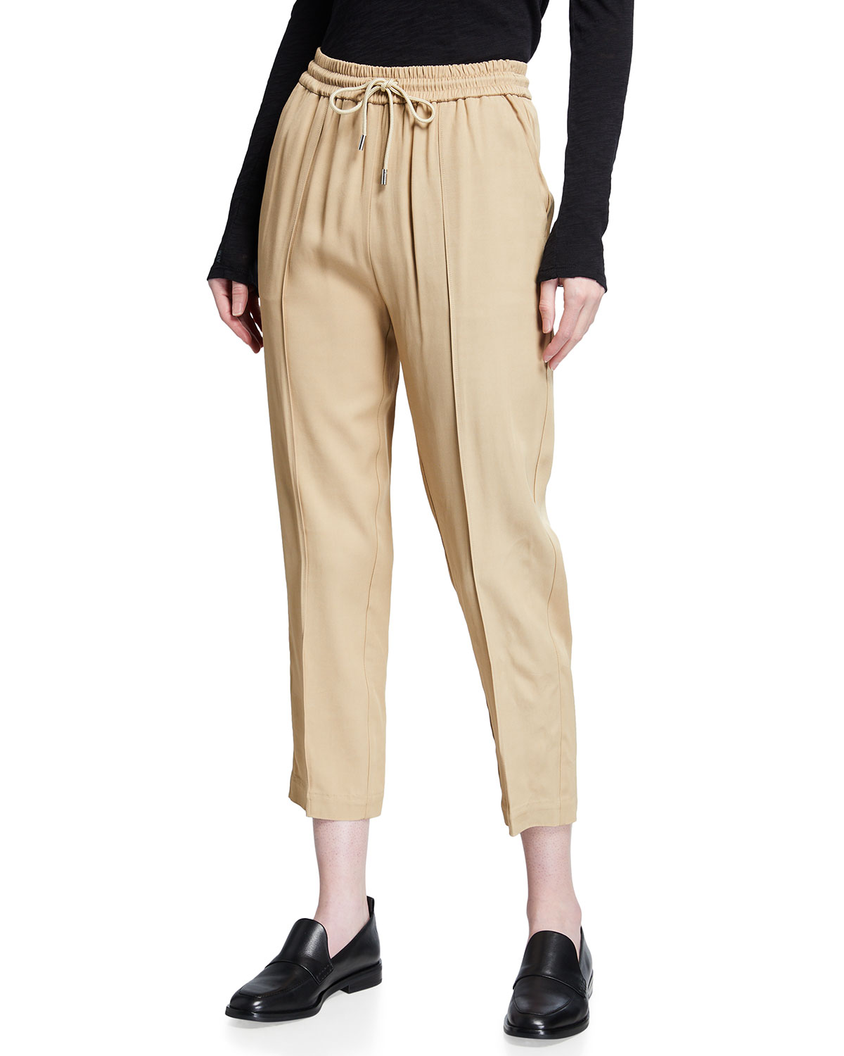 Viscose Twill Cropped Pull-On Pants