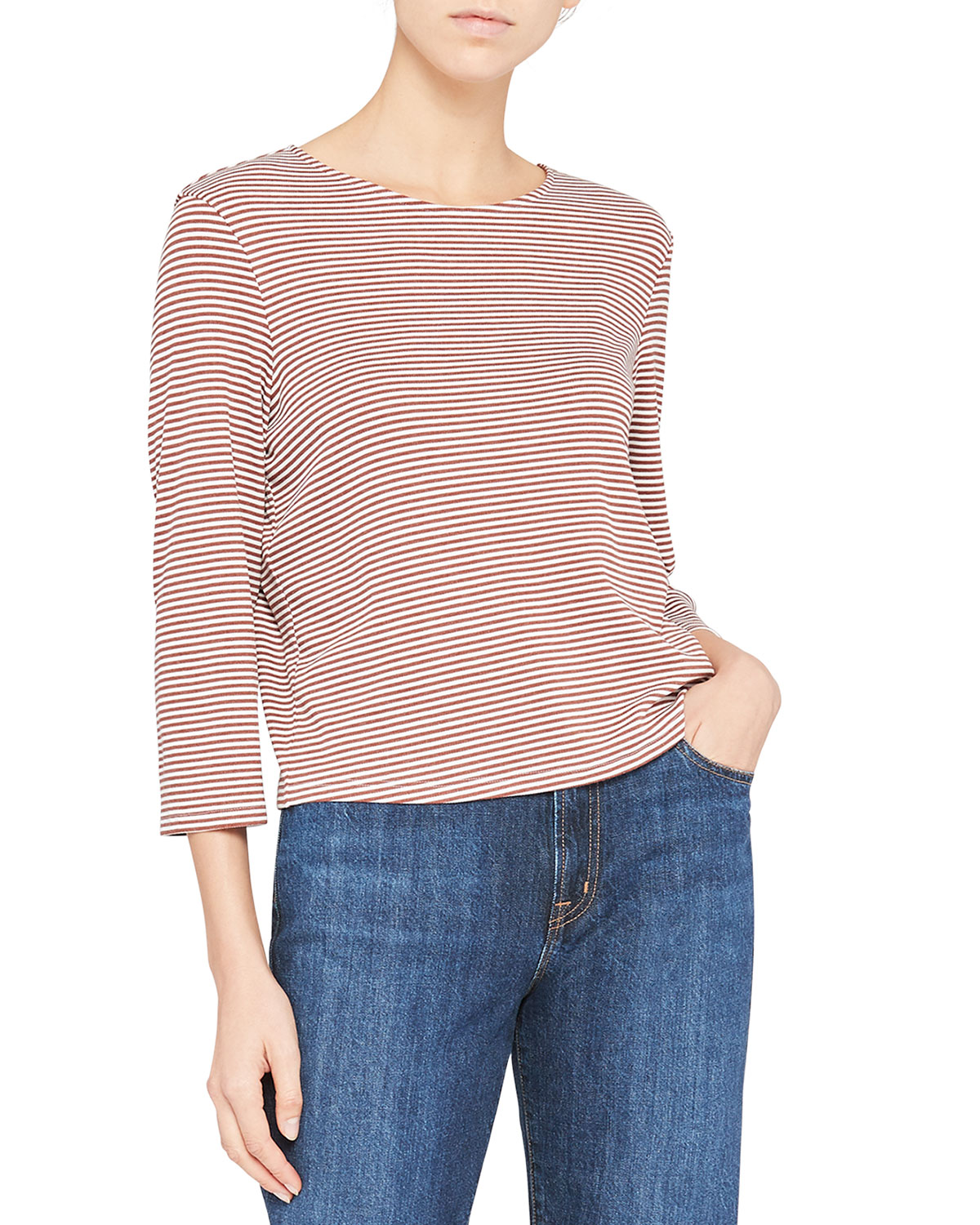 Theory Tops SQUARE TEE WITH BACK BUTTONS