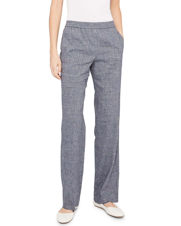 Theory Straight pants STRAIGHT-LEG LINEN PULL-ON PANTS