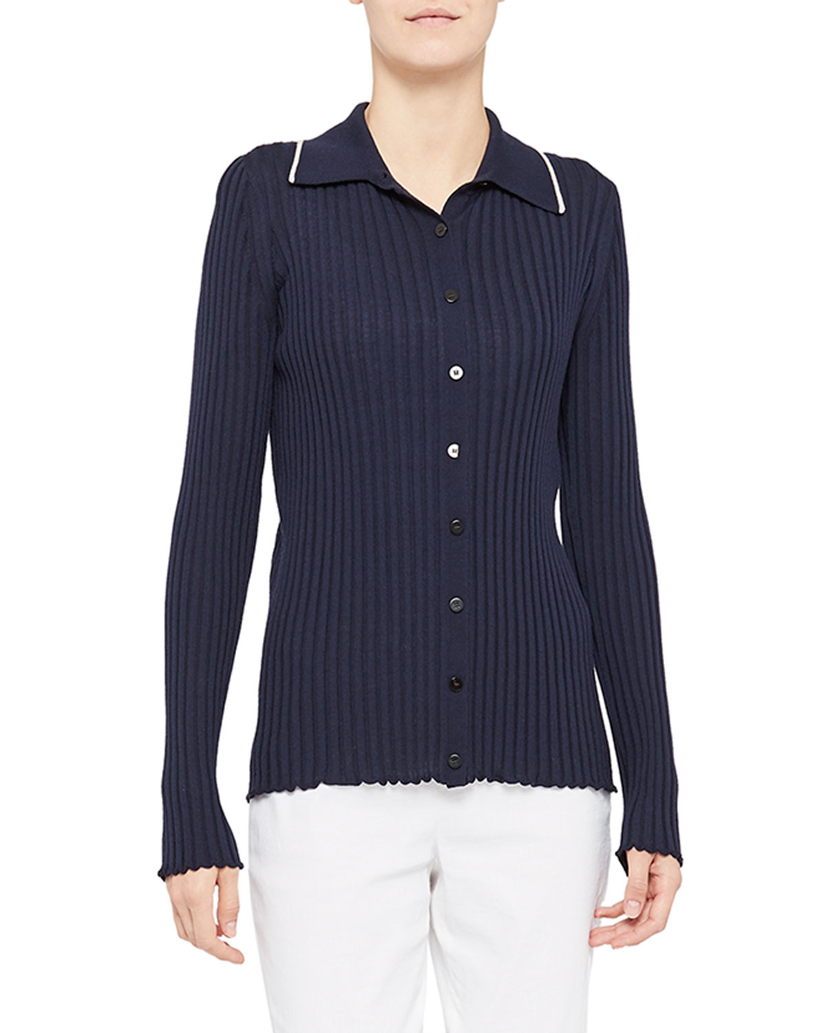 Theory RIBBED BUTTON-DOWN SHIRT WITH COLLAR TRIM