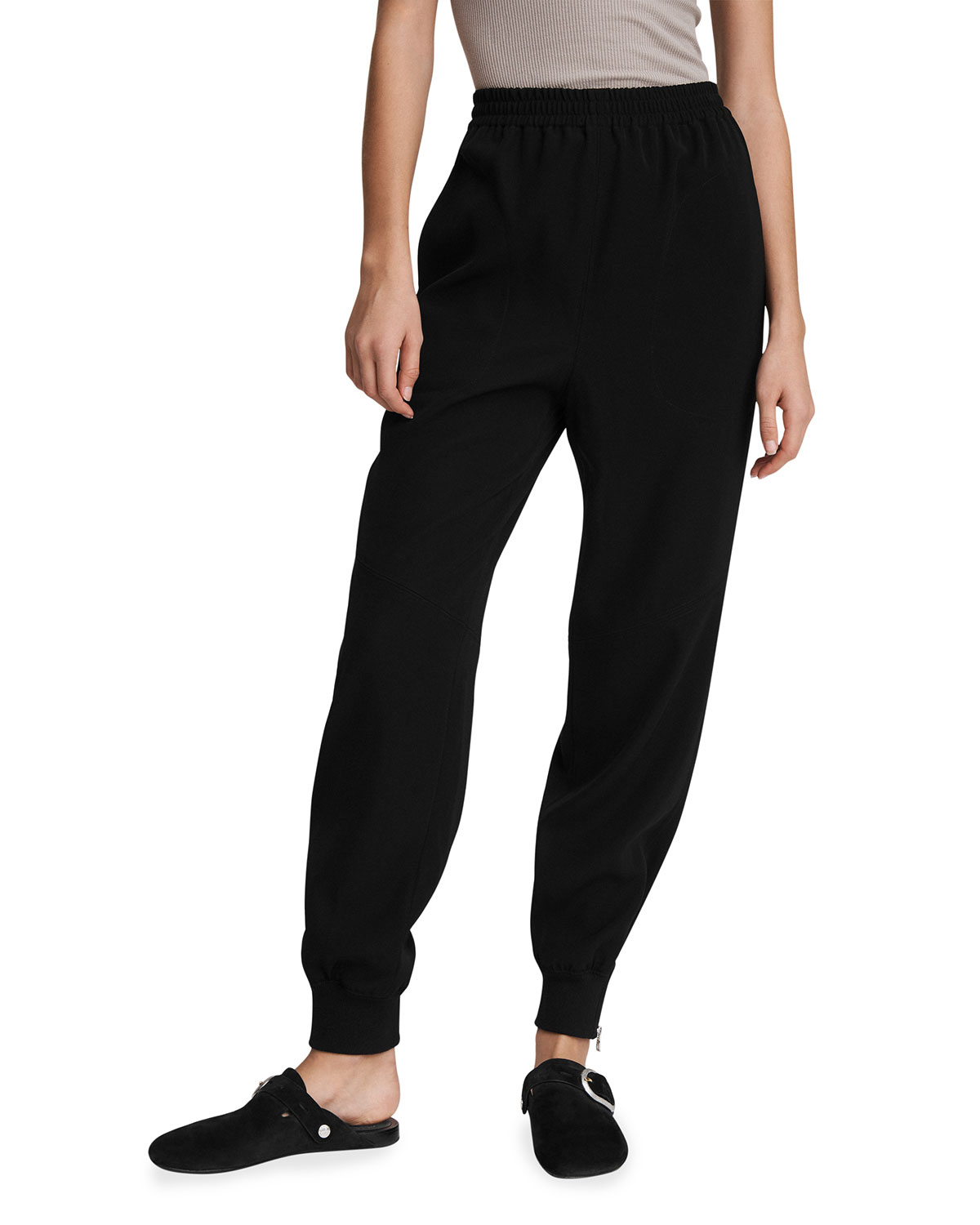 Rag & Bone CREPE JOGGERS WITH ZIPPER CUFFS