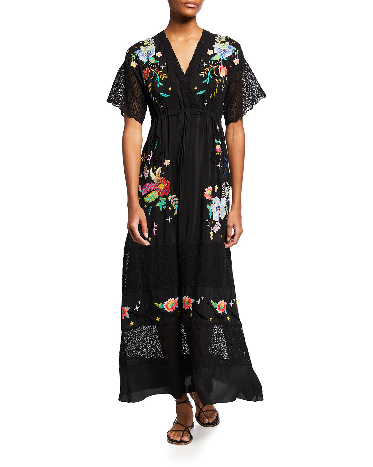 Johnny Was AMAPOLA FLORAL-EMBROIDERED SILK MAXI DRESS
