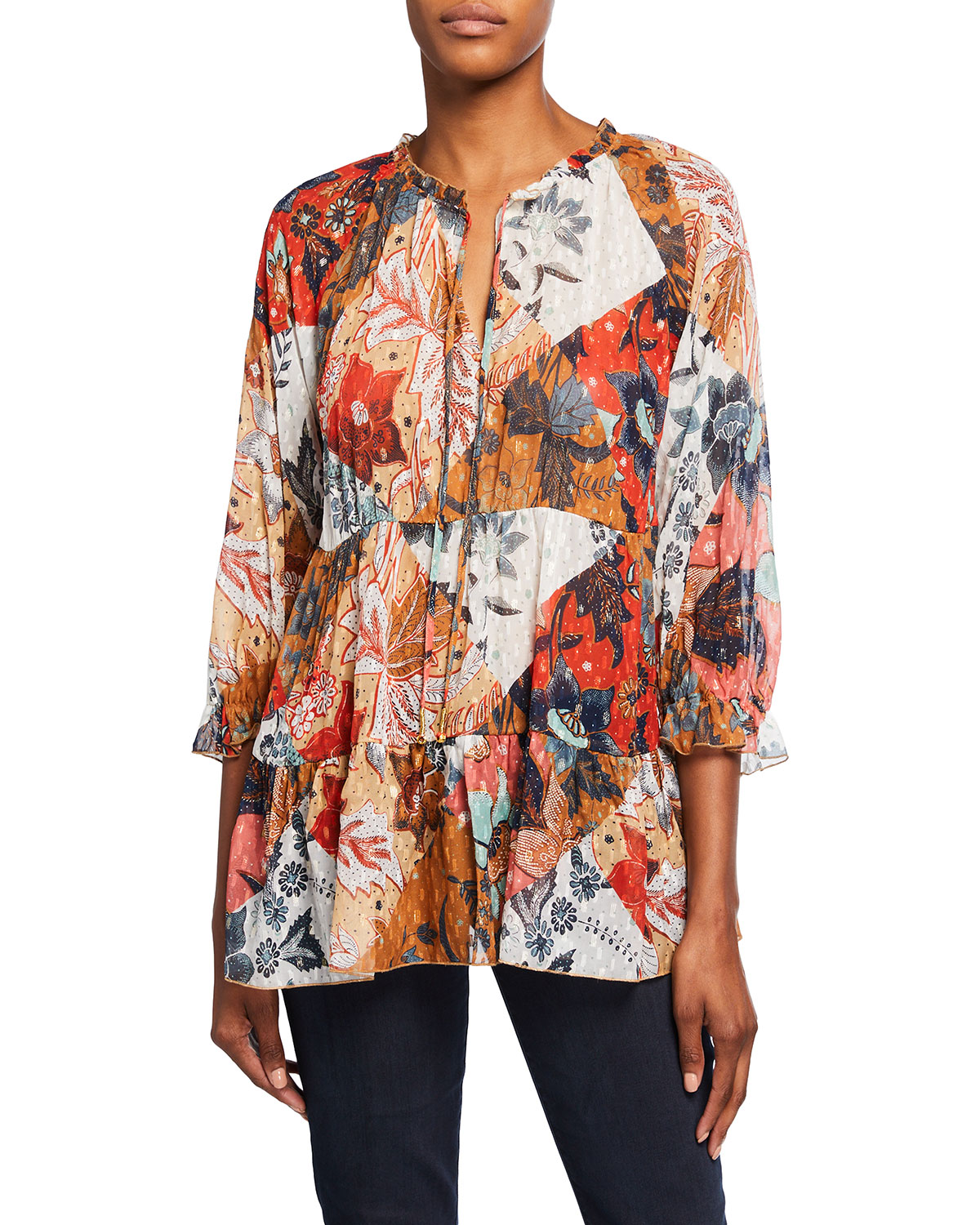 Johnny Was CLAIRE FLORAL-PRINT TIERED CHIFFON TOP