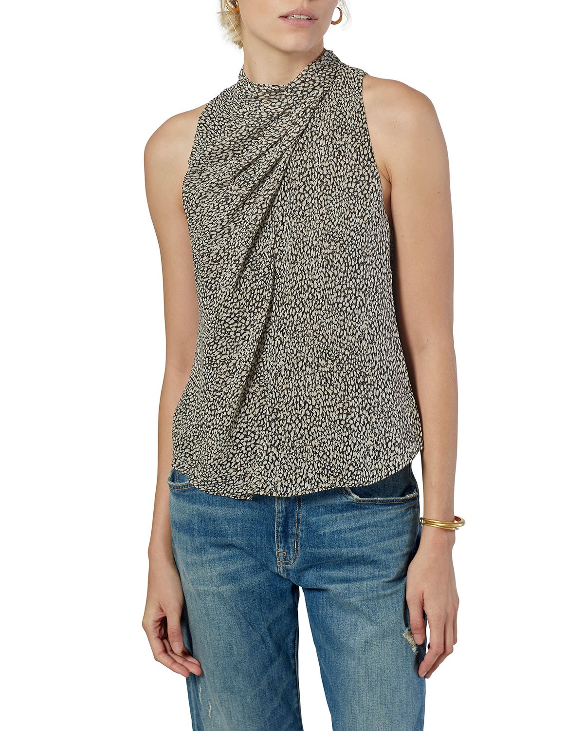 Paul Twisted-Front Sleeveless Printed Shirt