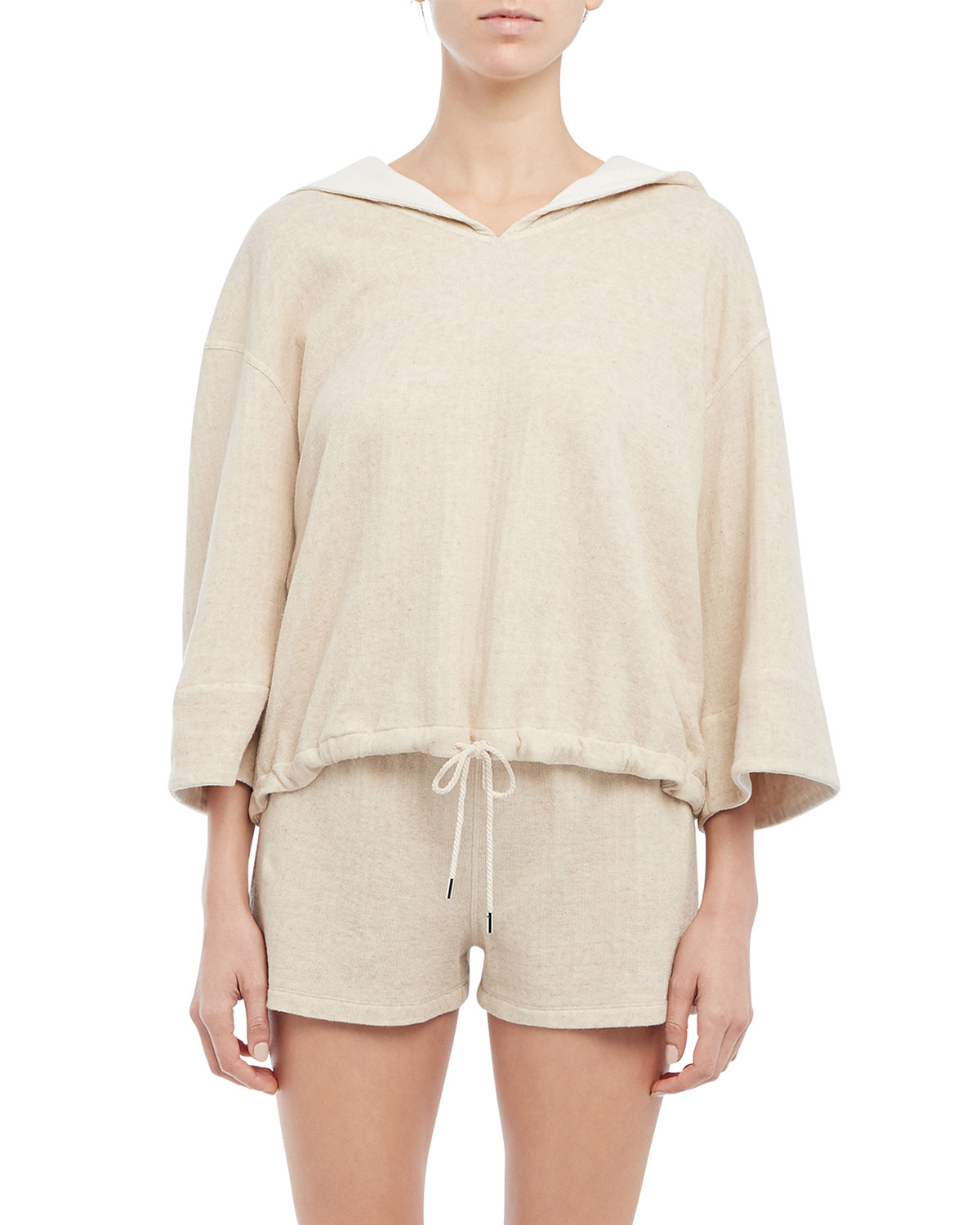 Theory HOODED COTTON-LINEN TEE