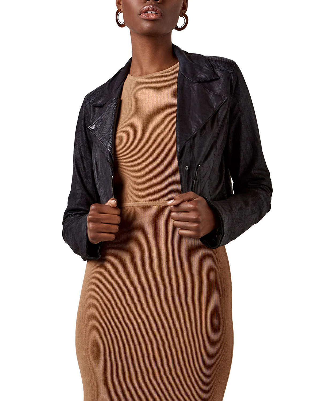 Madeline Cropped Leather Jacket