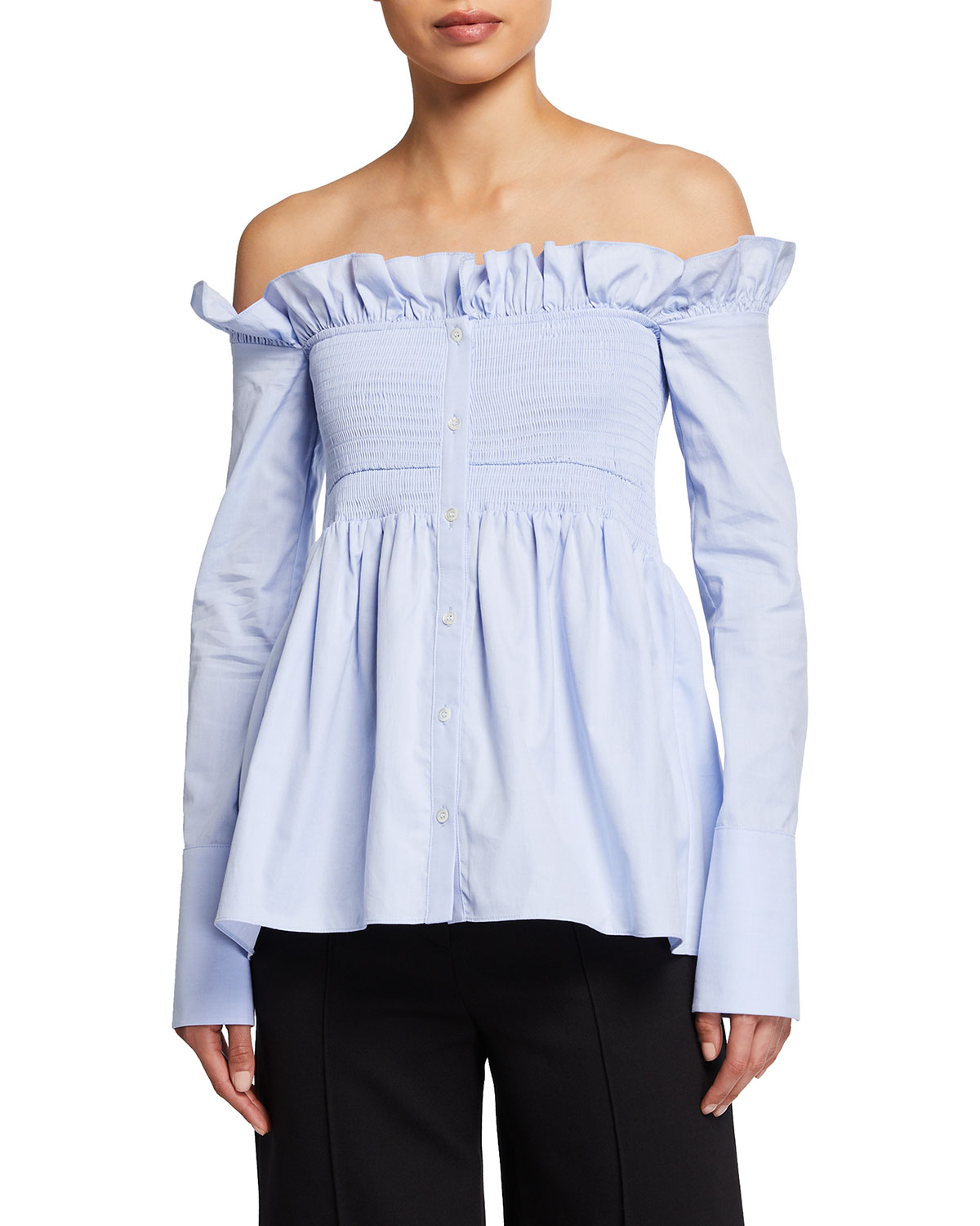 Victoria Victoria Beckham SMOCKED OFF-SHOULDER OXFORD SHIRT