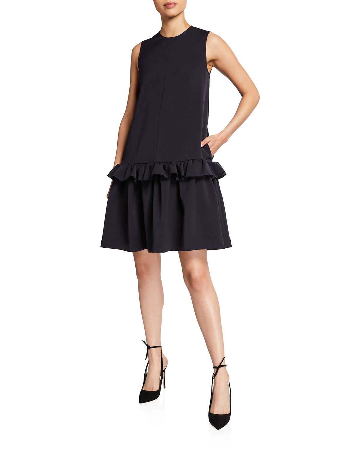 Victoria Victoria Beckham SLEEVELESS FLOUNCE-HEM DRESS
