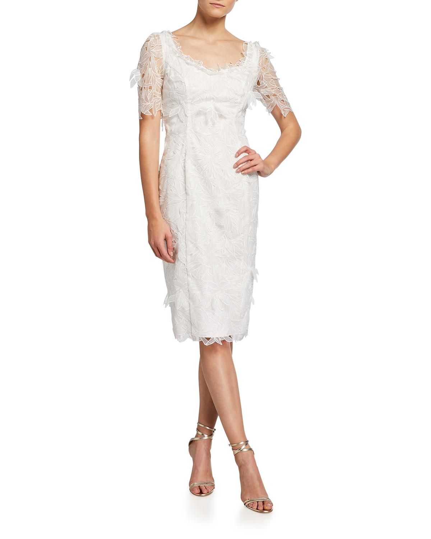 Marchesa Notte ENVELOPE-NECK EMBROIDERED ORGANZA SHEATH DRESS