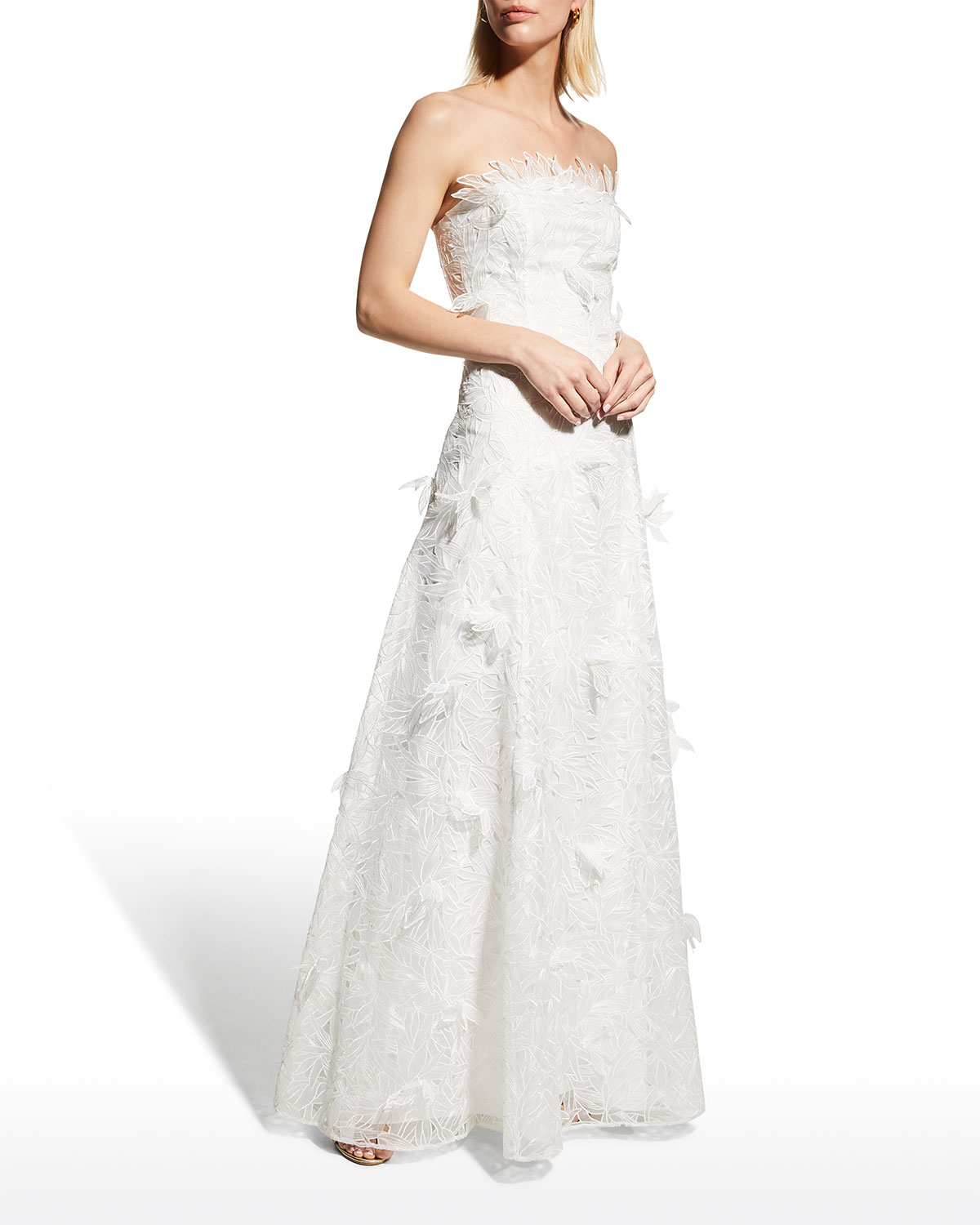 3D Applique Strapless Embroidered Organza Gown