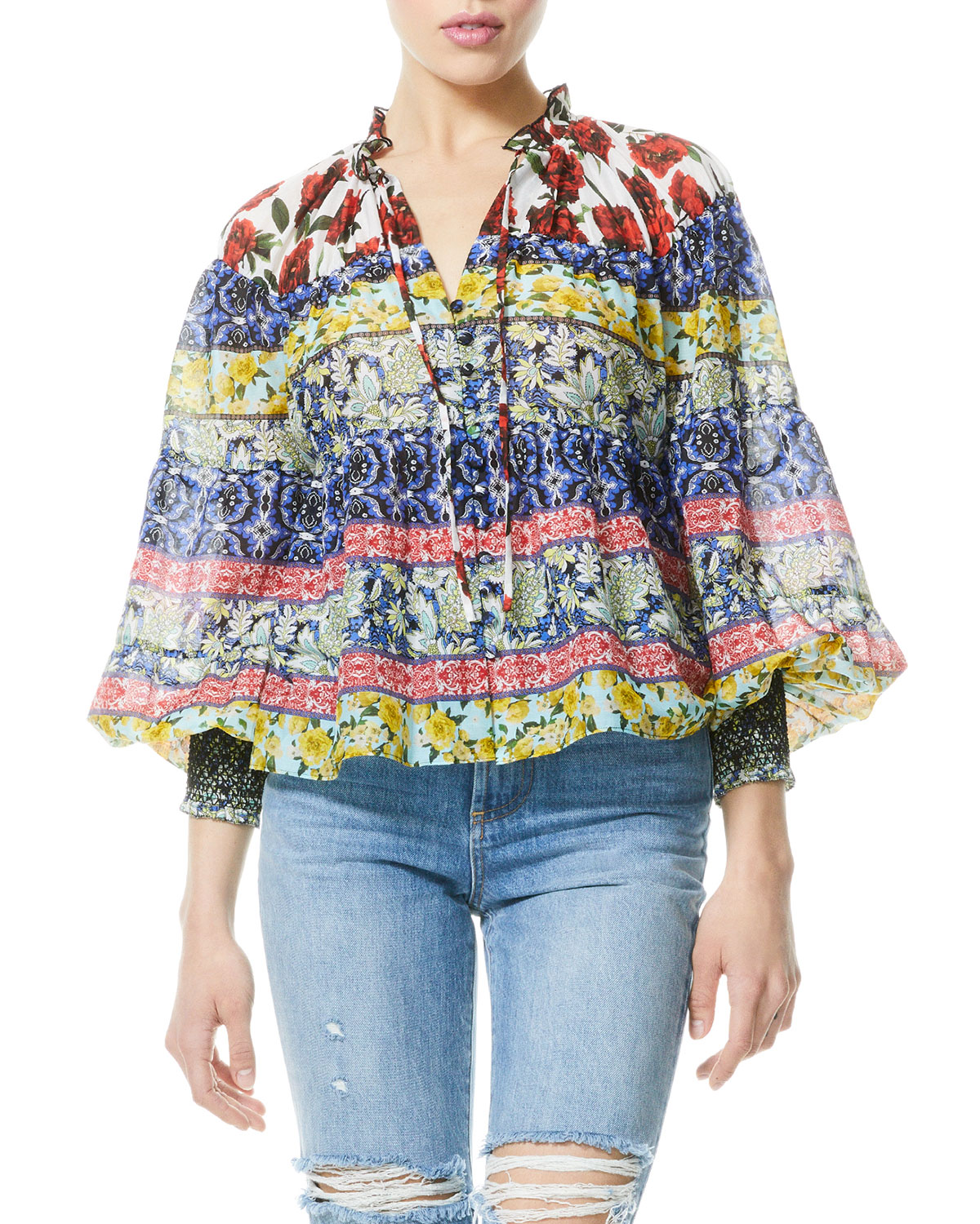 Alice And Olivia MARLYN TIE-NECK BUTTON-DOWN TIERED BLOUSE