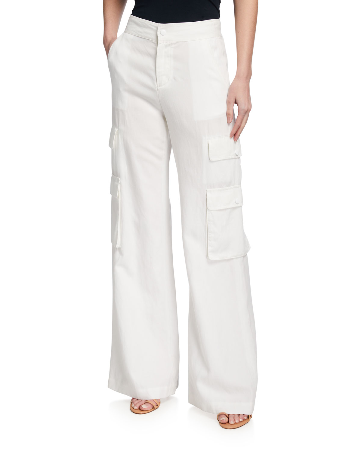 Alice And Olivia Hayes High-waist Wide-leg Cargo Pants In White