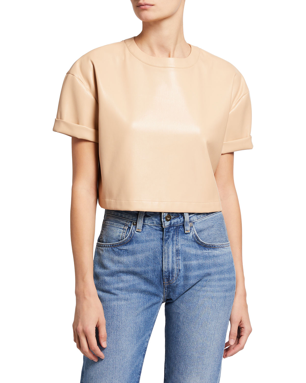 Alice And Olivia Leathers SERITA VEGAN LEATHER CROPPED BOXY TOP