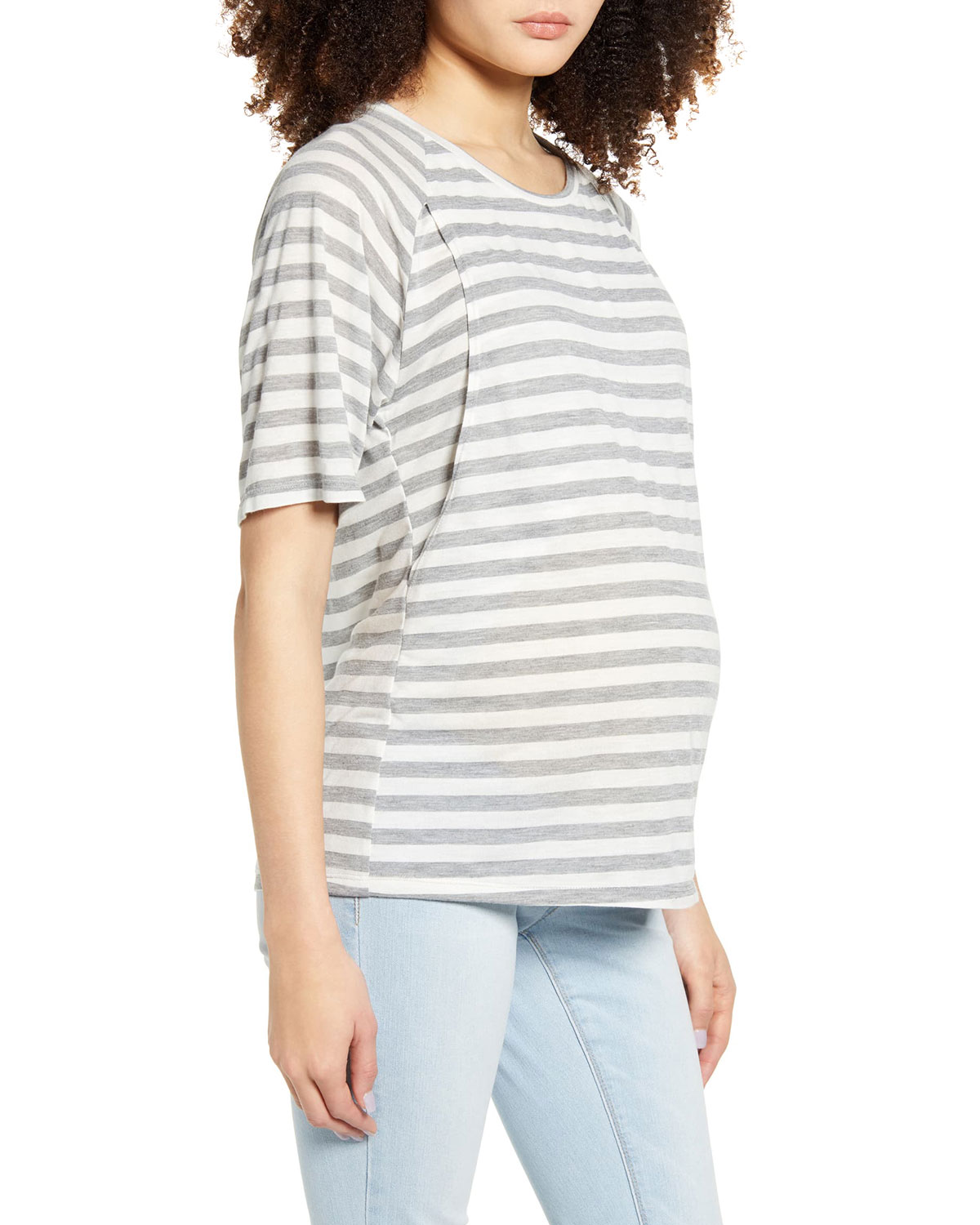 Maternity Smooth Relax Striped Nursing Tee