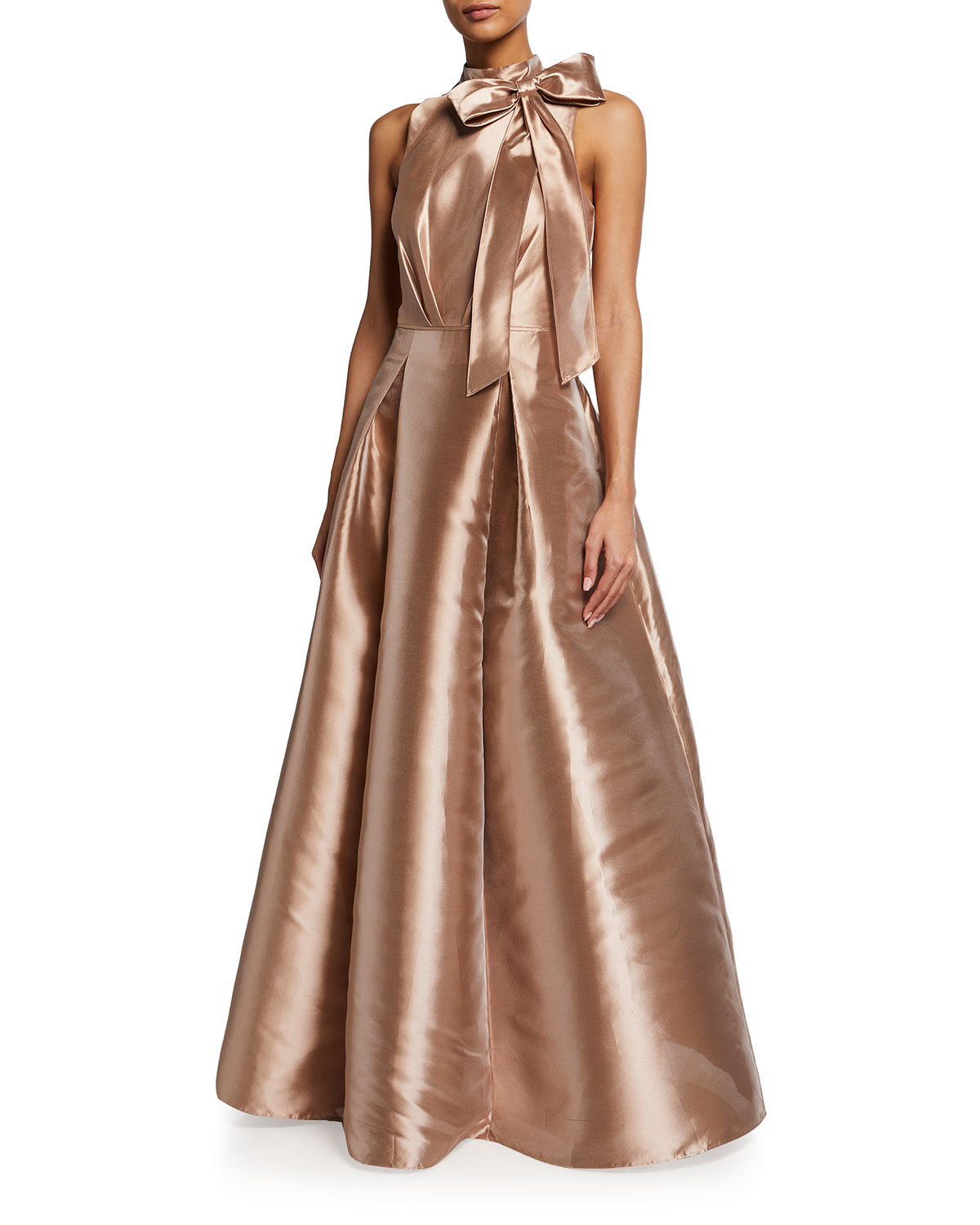 Aidan Mattox Gowns MOCK-NECK TAFFETA BALL GOWN WITH BOW