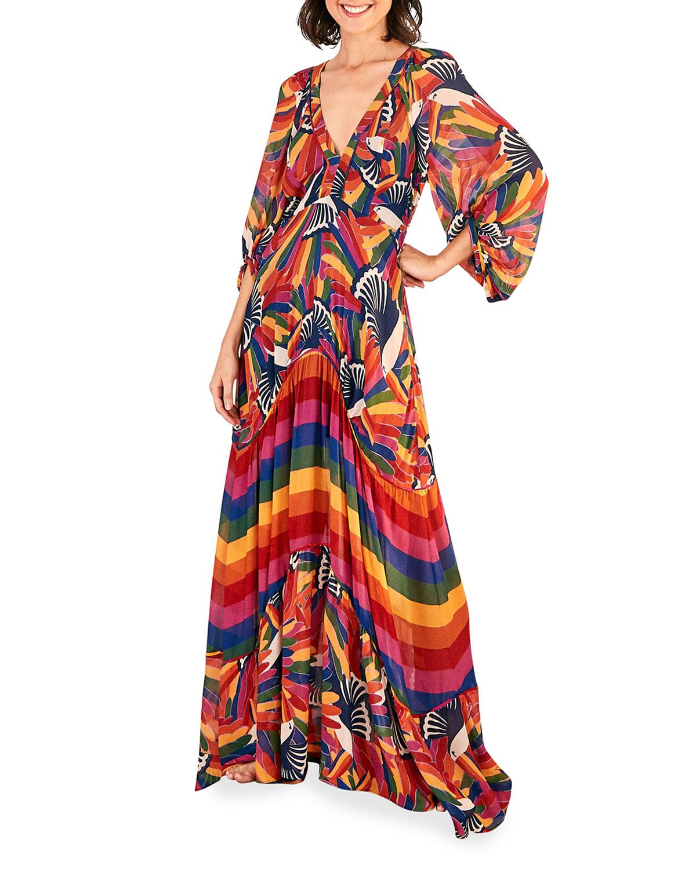 Farm Rio Maxi dresses RAINBOW TOUCANS VOLUMINOUS-SLEEVE TIERED DRESS