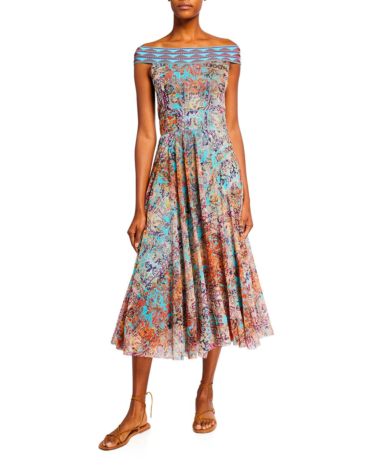 Fuzzi OFF-THE-SHOULDER FIT-AND-FLARE MIDI DRESS