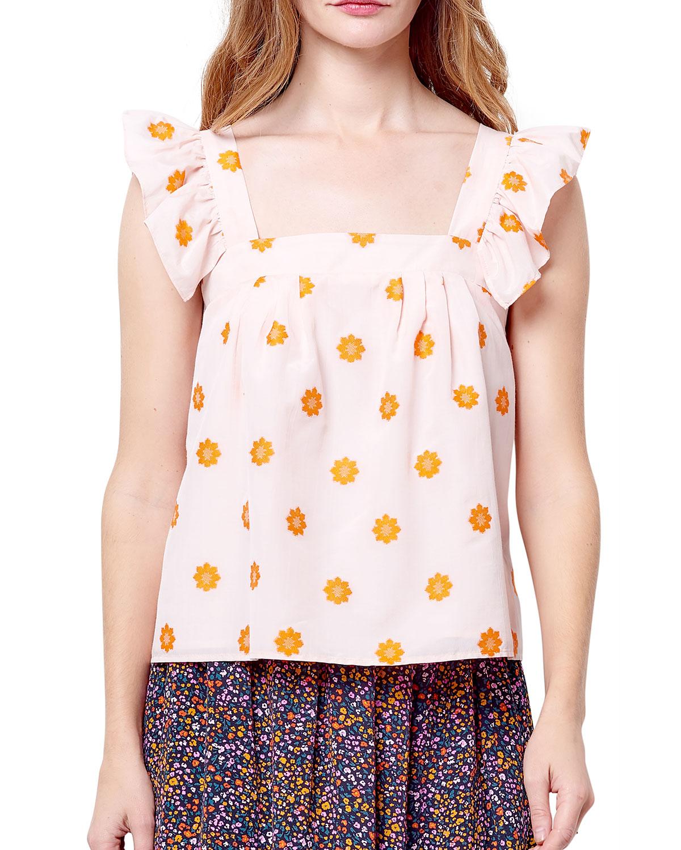 Margella Ruffle-Sleeve Floral Top