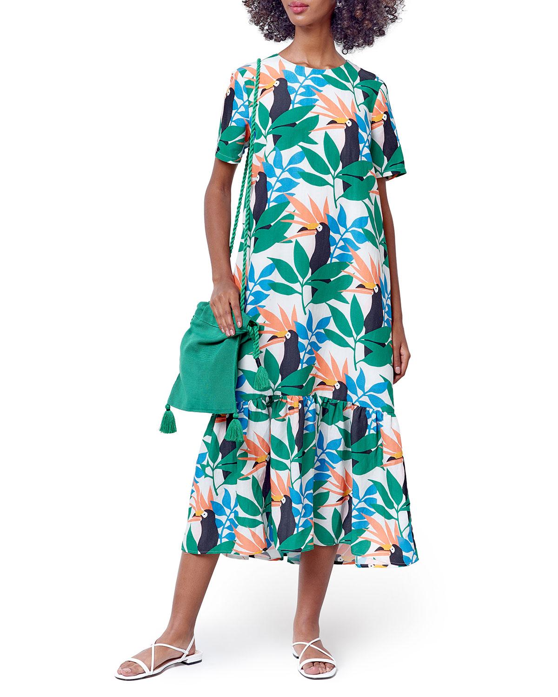 Kora Print Maxi Flounce-Hem Dress