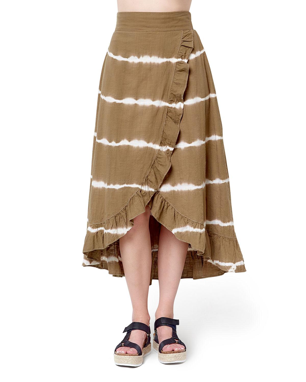 Courtney Tie Dye Faux-Wrap Ruffle Skirt
