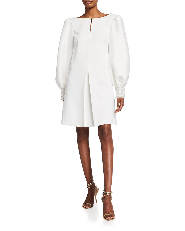 Badgley Mischka Dresses BEADED-CUFF BALLOON-SLEEVE A-LINE DRESS