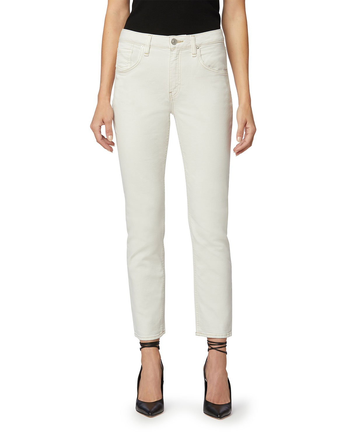 Iona High-Rise Straight Jeans with Flap Pockets