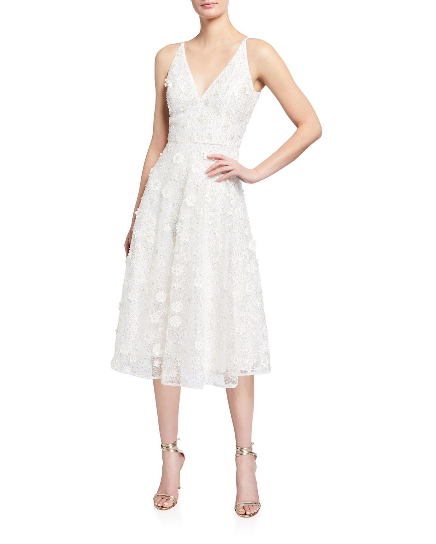 Dress The Population ELISA BEADED MIDI FIT-&-FLARE DRESS