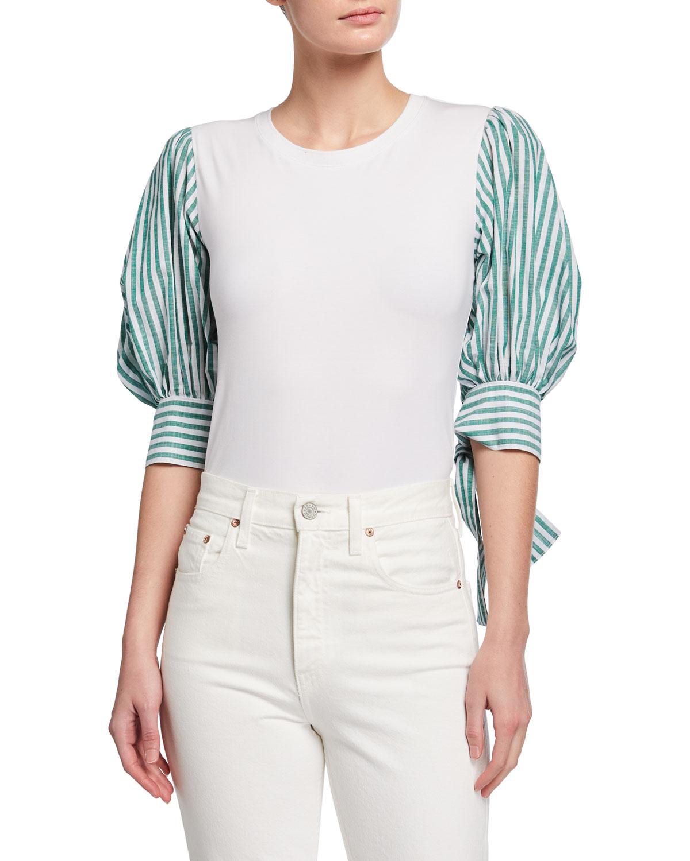 Carlie Stripe-Sleeve Top