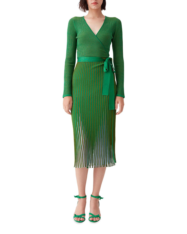Diane Von Furstenberg DARA MIDI RIBBED WRAP DRESS
