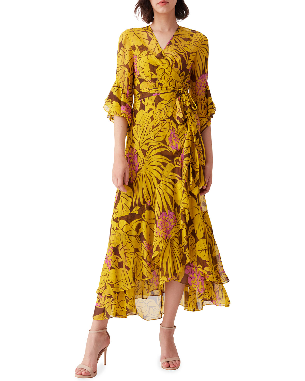 Diane Von Furstenberg JEAN CHIFFON MIDI WRAP DRESS