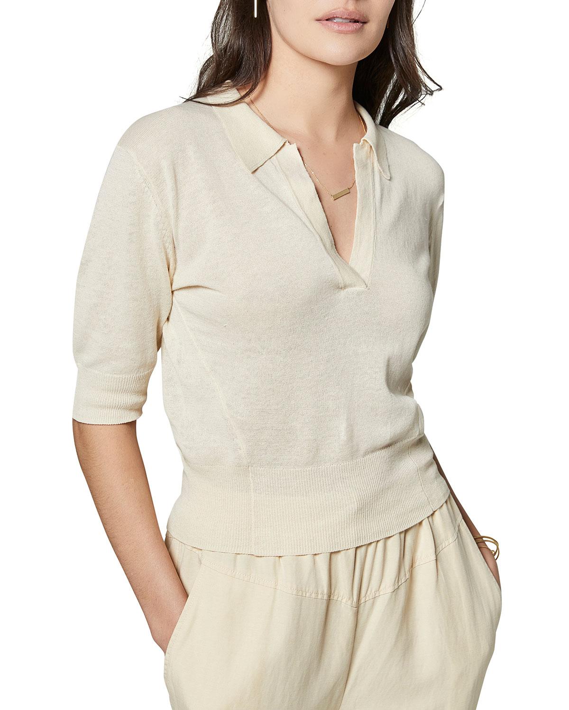 Dorota Short-Sleeve Polo Top