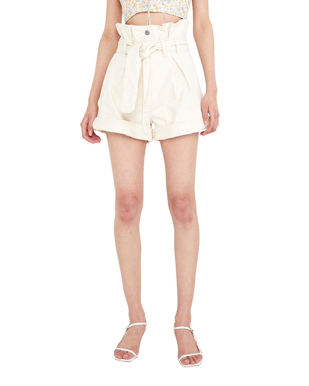 Paperbag High-Rise Denim Shorts