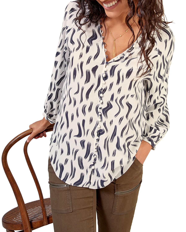 Shariana Long-Sleeve Georgette Print Top