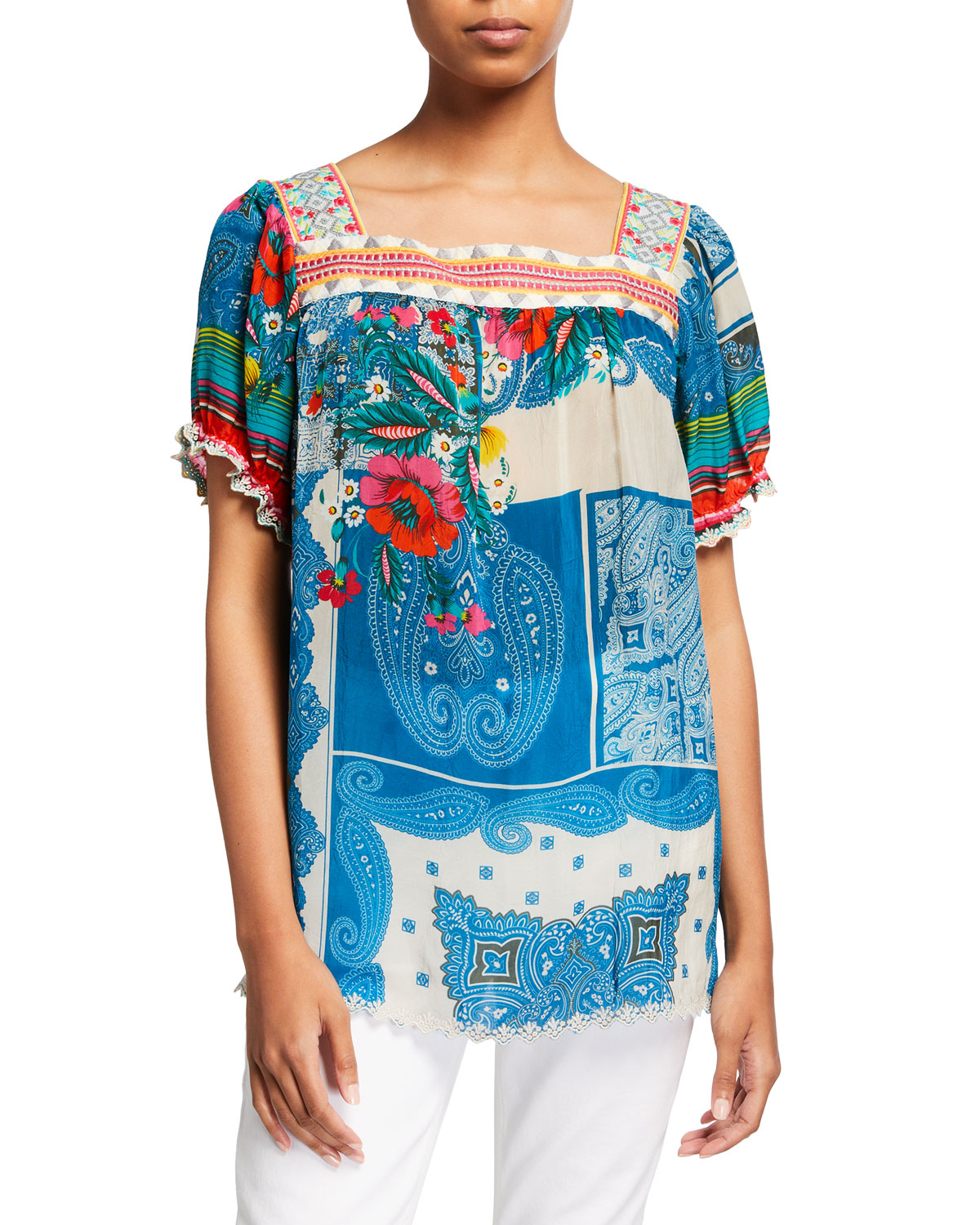 Johnny Was HILARY PAISLEY FLORAL SHORT-SLEEVE TOP