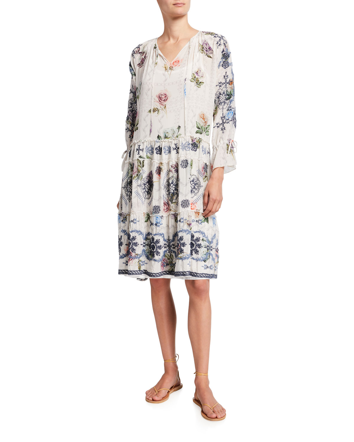 Johnny Was KAILEY FLORAL TIERED SILK CHIFFON DRESS