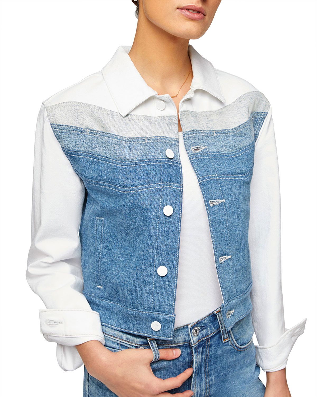7 For All Mankind TRICOLOR STITCHED DENIM JACKET
