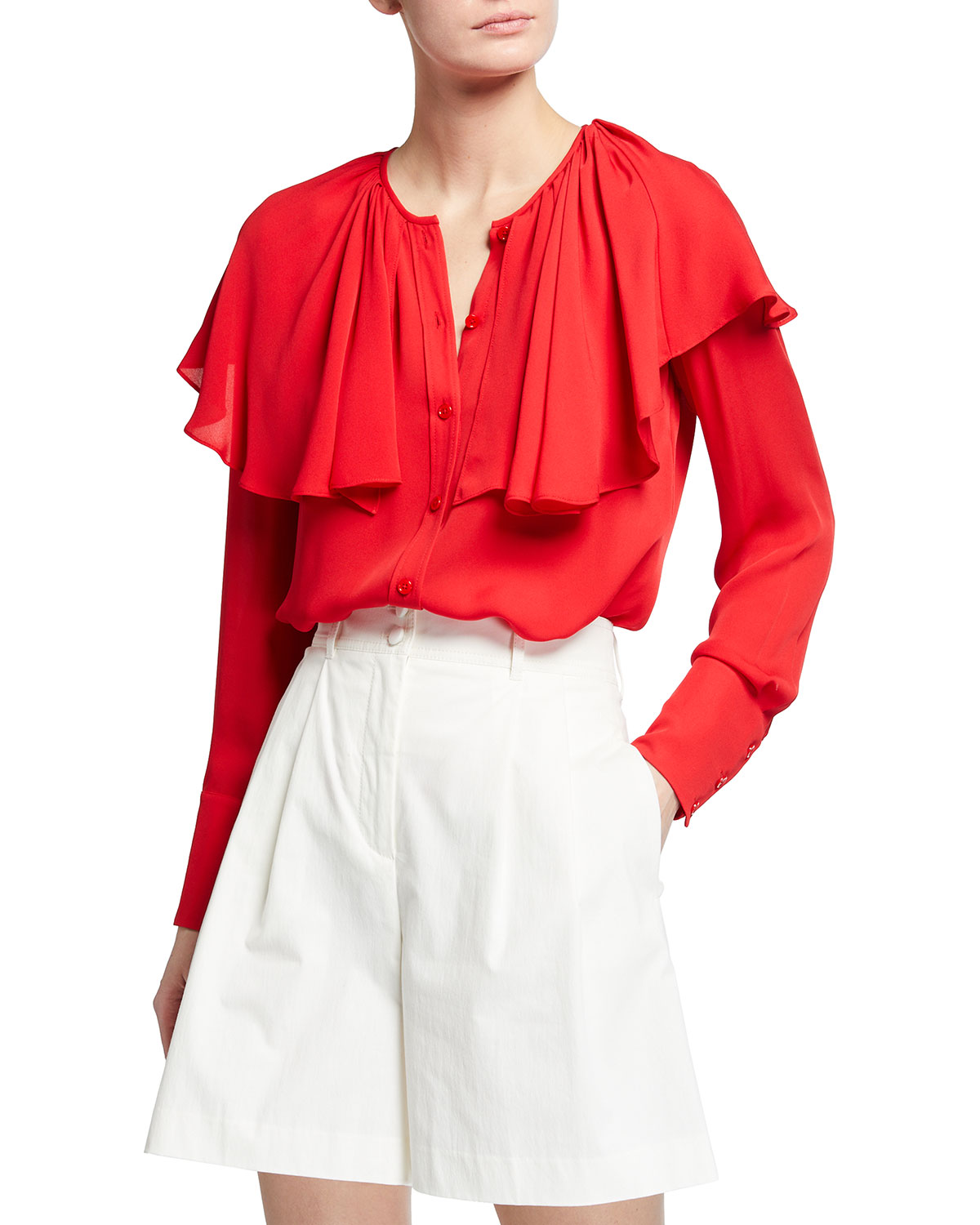 Rebecca Taylor Silks LONG-SLEEVE GEORGETTE BUTTON-FRONT BLOUSE