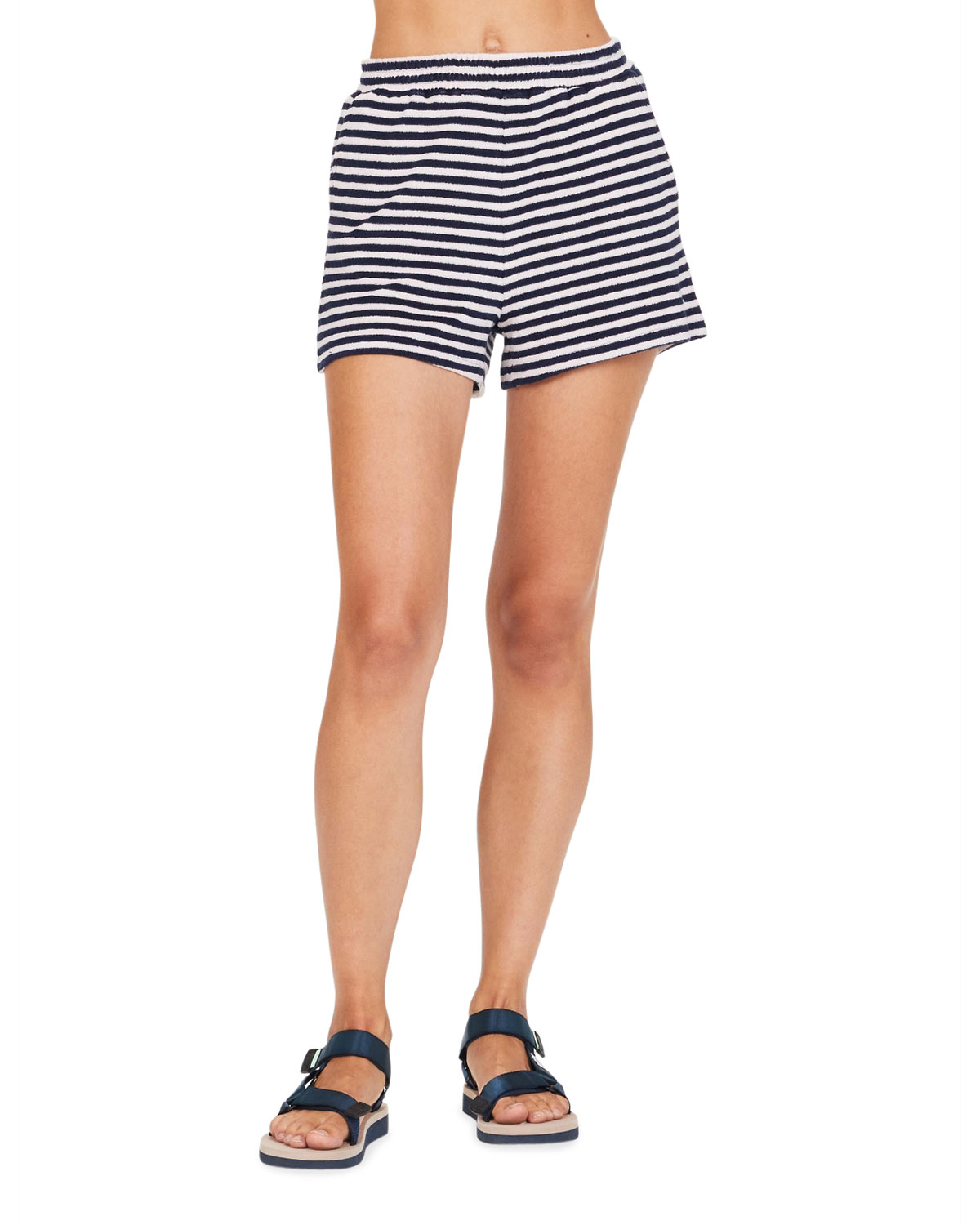 The Upside CHRISTINA STRIPED TERRY SHORTS