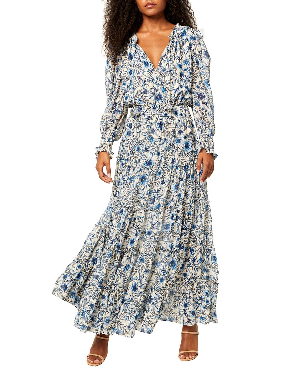 Misa VIDA PLEATED FLORAL MAXI DRESS