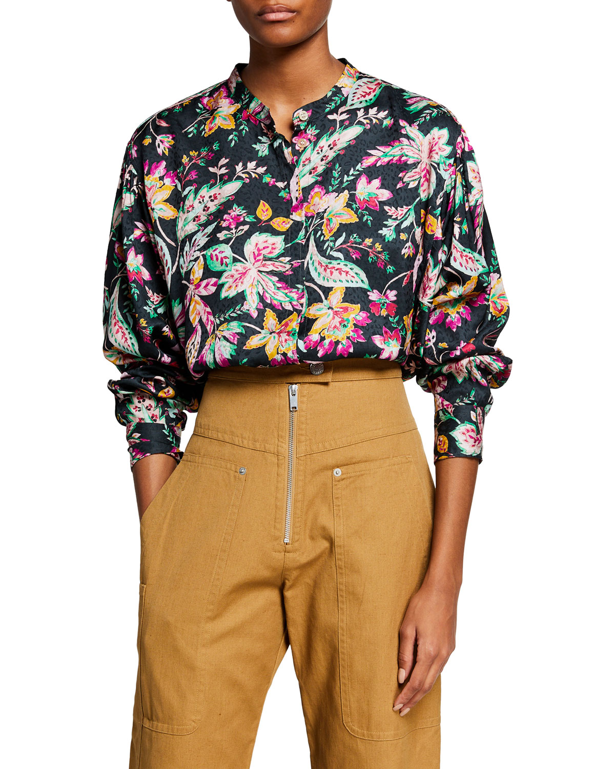 Catchell Printed Button-Down Top