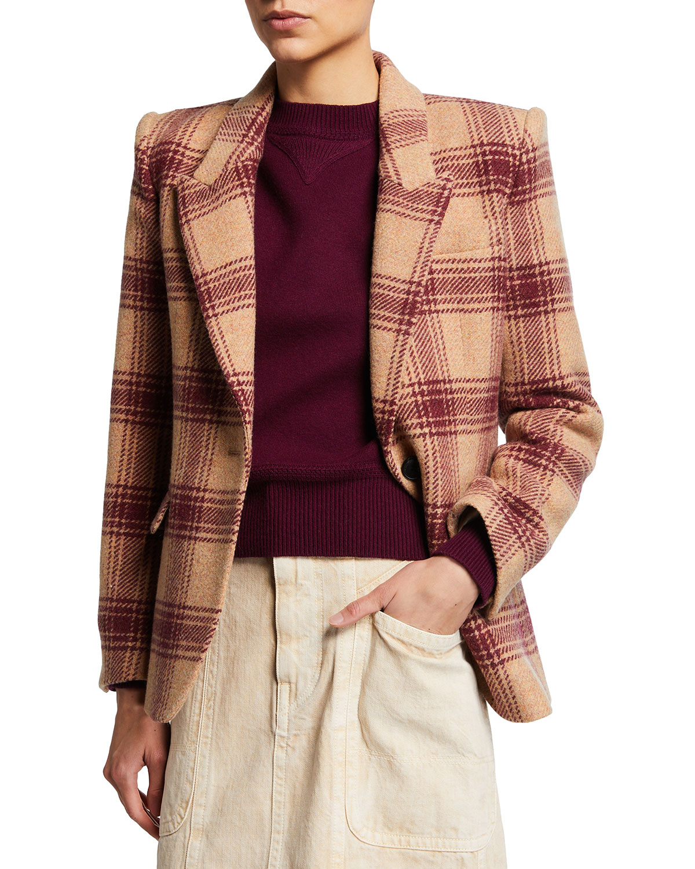 Kerstin Plaid Single-Button Jacket