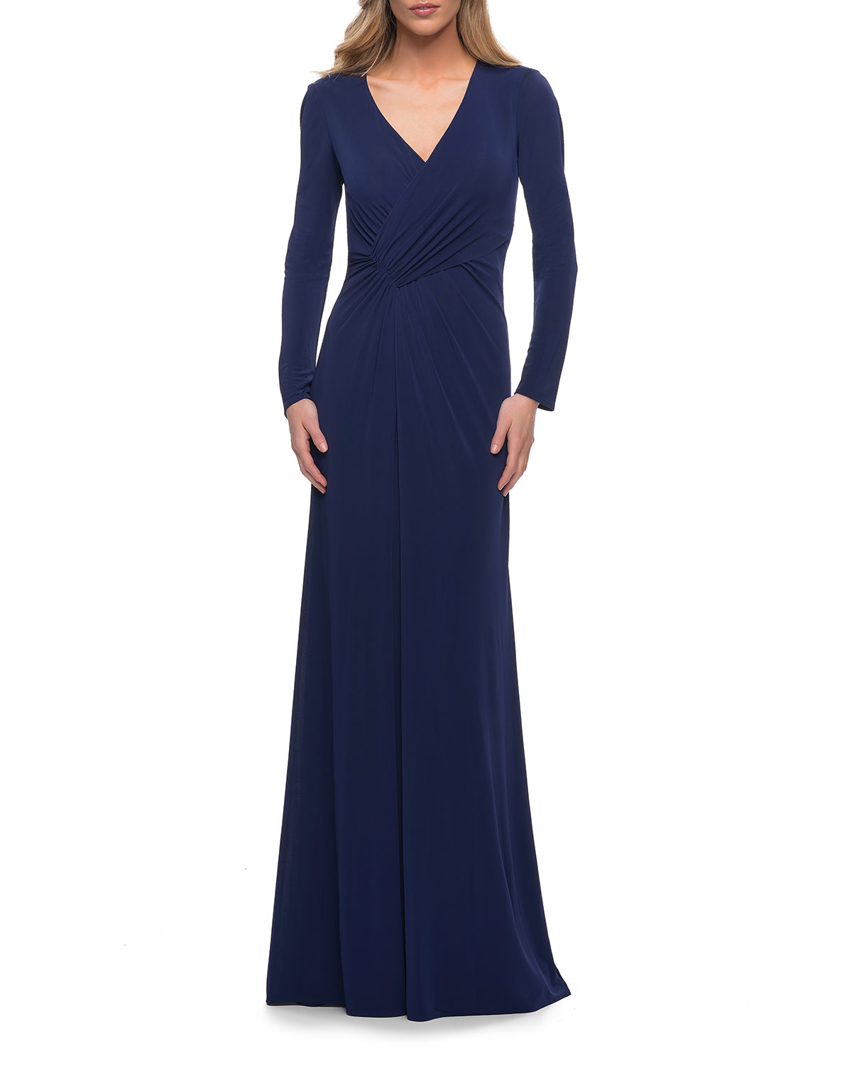 La Femme Gowns LONG-SLEEVE RUCHED JERSEY EVENING GOWN
