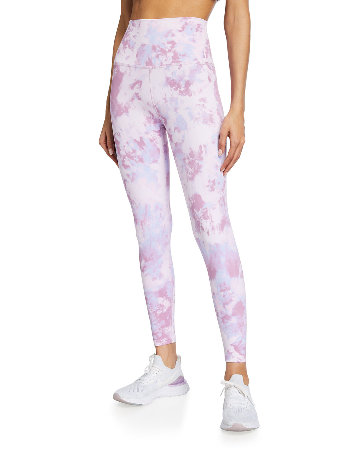 Beyond Yoga MARBLE-PRINT HIGH-WAIST MIDI PERFORMANCE LEGGINGS