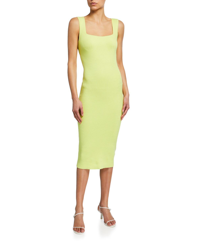 Contour Ribbed Square-Neck Dress