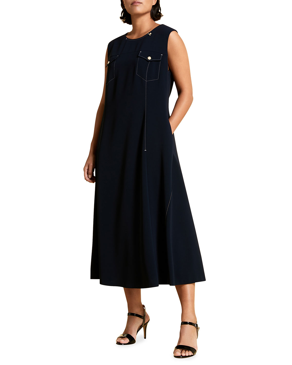 Marina Rinaldi PLUS SIZE DAVOS CREPE DRESS WITH ATTACHABLE SLEEVES