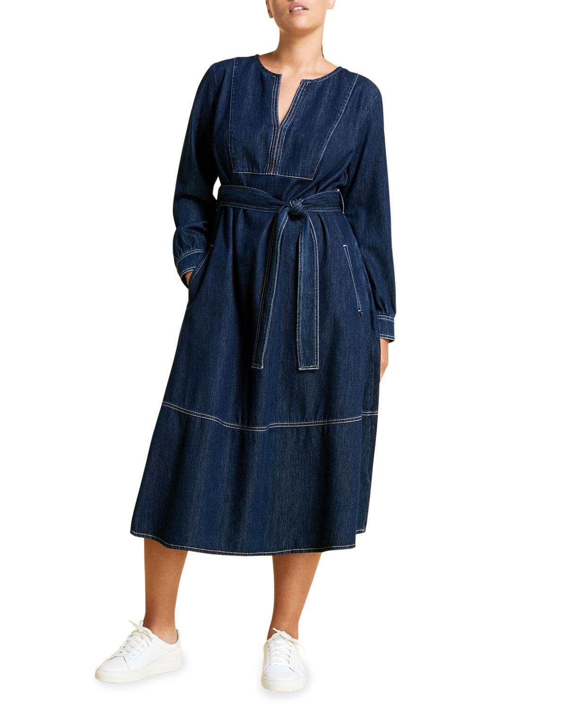 Marina Rinaldi PLUS SIZE DADAISTA BELTED DENIM DRESS