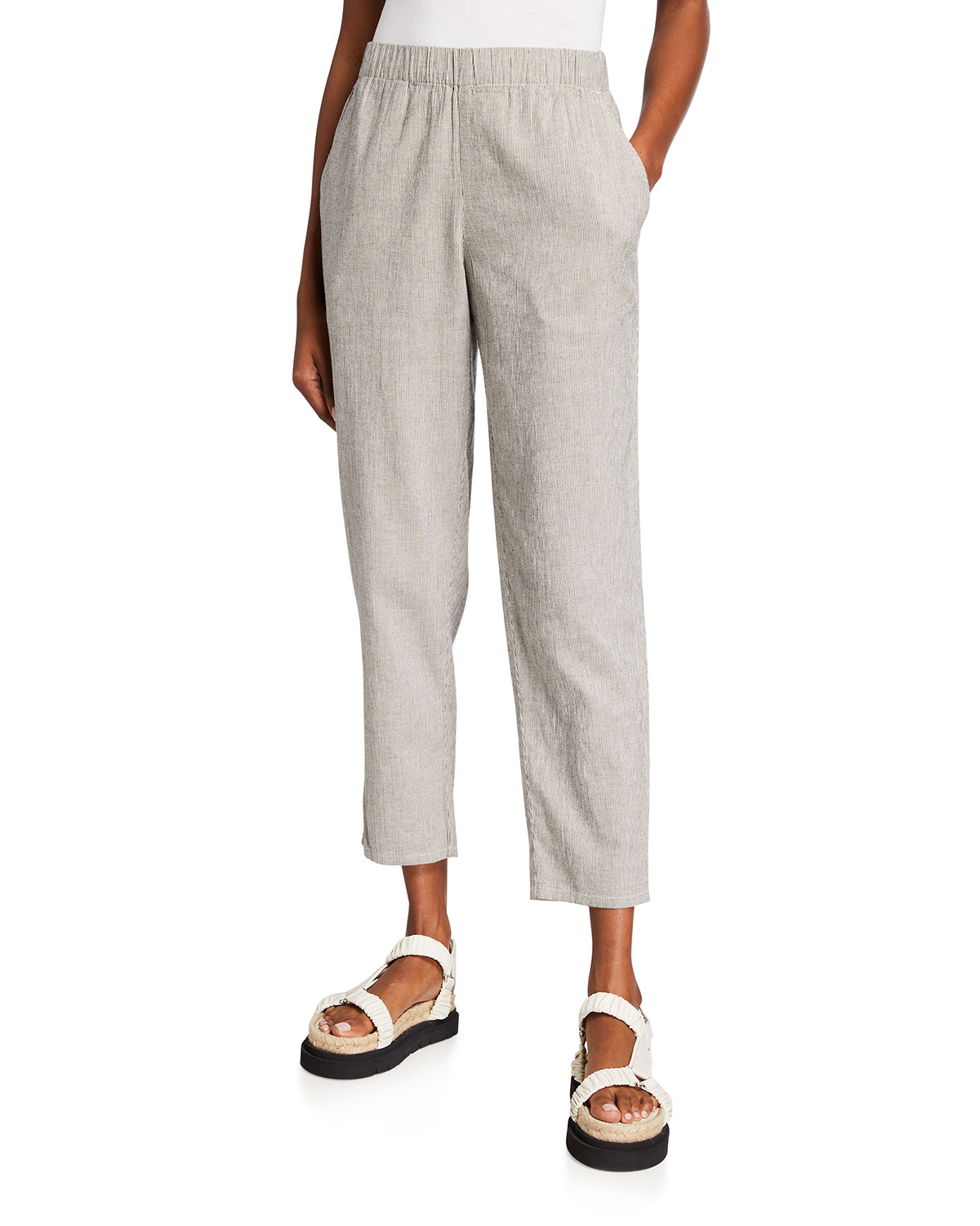 Eileen Fisher Pants TICKING STRIPE TAPERED ANKLE PANT