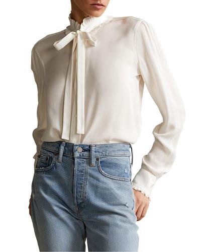 beige mottled jerseyshirt women ruffles